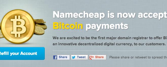 Namecheap Accepting Bitcoin