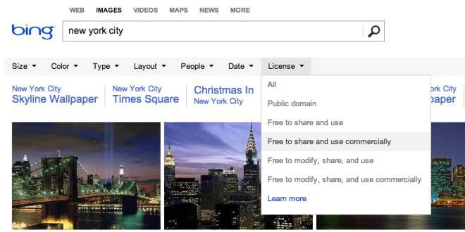 Bing Usage Rights on Images