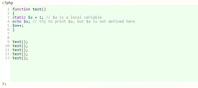 php assign static variable