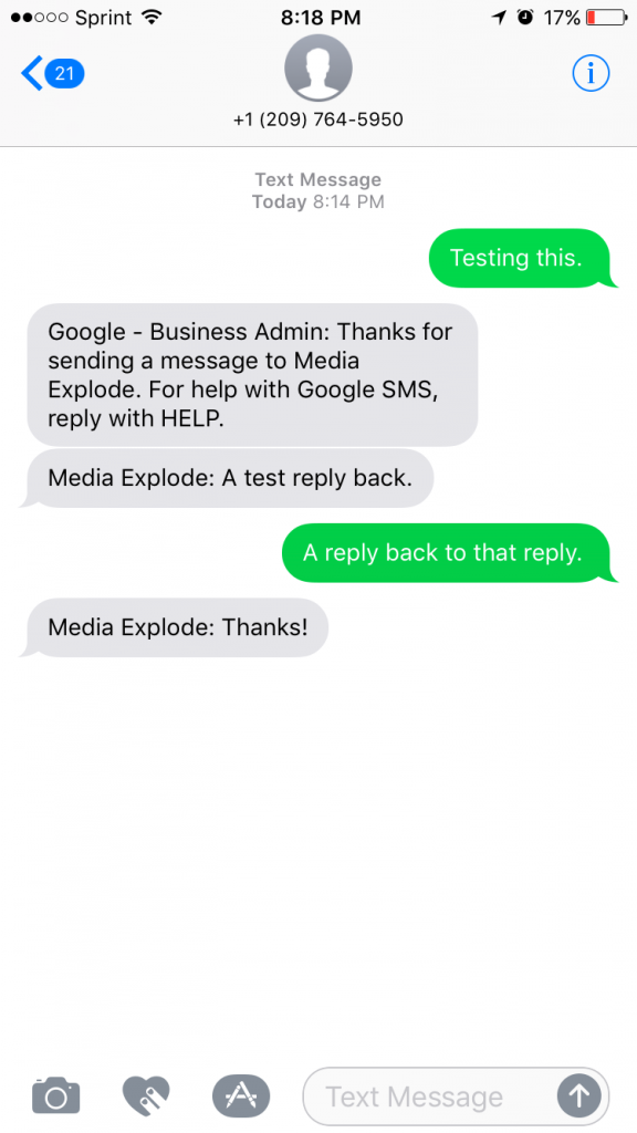 Google Business Messaging - Customer View